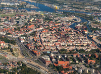 the city center of Gdansk from the air