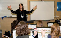 Laura Lentz leads the flute choir reading session