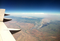 One of the wildfires burning in SW Wyoming as we flew into Jackson on June 26th. (taken with my iPhone)