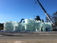 The Ice Castle in Saranac Lake being built